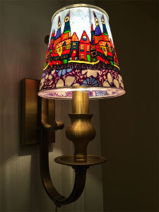 Good Design Iron Wall Lamp with Colorful Glass Shade (SL2091-1W) pictures & photos