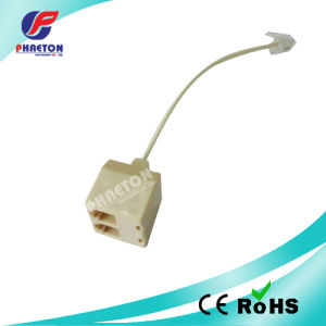 Telephone Adaptor Jack to 2 Jacks with Wire 6p4c 8p8c (pH2203) pictures & photos