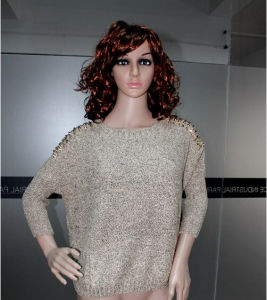 T11915 Fashion Sweater with Rivet Batwing Sleeve for Ladies pictures & photos