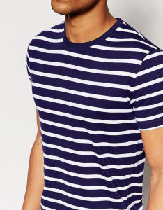 China Factory Wholesale Mens Blue And White Stripe T Shirt