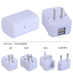 USA/UK/EUR/Aus Plug, Universal Travel Adapter with Two USB Output 1000mA