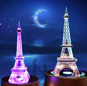 K9 Material High Quality and Beautiful Crystal Color Eiffel Tower pictures & photos