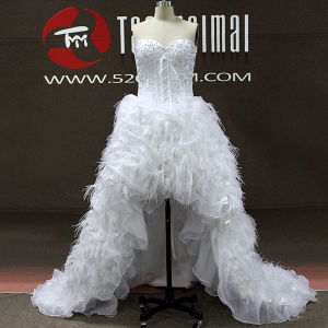 Real Photos Feather Organza High Low Women A-Line Wedding Dresses (TM-AL197)
