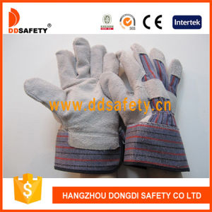 Ddsafety 2017 Cow Split Leather Work Gloves Stripe Cotton Drill Back Safety Gloves pictures & photos