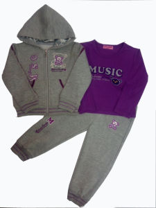 High Quality Children Clothes in Fleece Jogging Suits with Embroidery pictures & photos