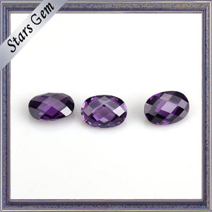 Charming Amethyst Double Checker Cut Synthetic CZ Stone pictures & photos