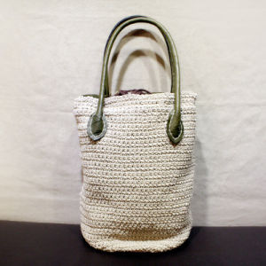 Hot Hand-Woven Cotton and Line Bag Leather Hand Bag