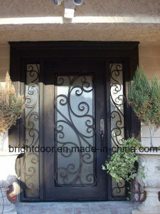 Price of Iron Wrought Glass Double Door pictures & photos