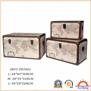 Wooden Decorative Vintage Light Green World Map Print Square Storage Box pictures & photos