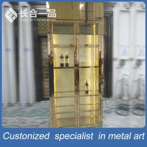 Customized Gold 8k Mirror Stainless Steel Wine Cabinet with Cooler pictures & photos