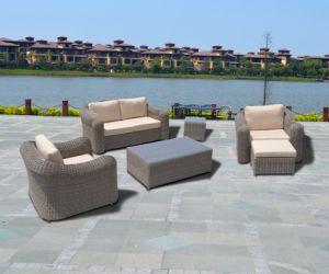 Patio Aluminum Round Wicker Garden Home Hotel Office Willow Triseater Sofa Set (J694) pictures & photos