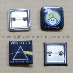 Emblem 44mm Square Promotional Button Badge, Plastic Pin Back Badges (PBB005) pictures & photos