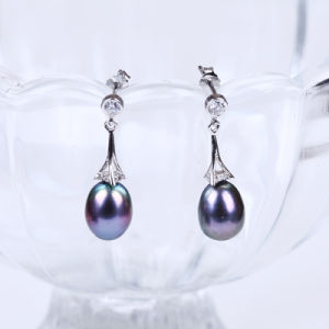 Black Freshwater Pearl Earring pictures & photos