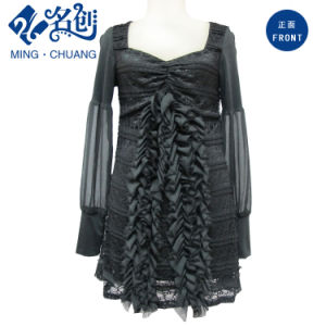 Lace Chiffon Long Sleeve Black Dress pictures & photos