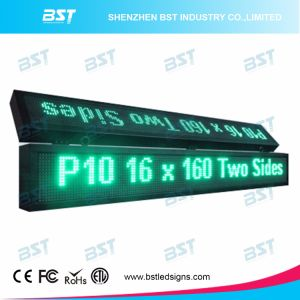 P10 Double Sided Double Line Green Outdoor LED Message Sign pictures & photos