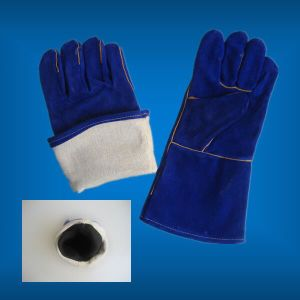 Blue Color Cow Split Leather Fully Lined Welding Work Glove (Welder Glove-Leather Glove) pictures & photos