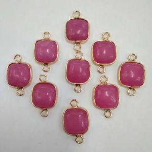 Wholesale Natural Gemstone Agate Gild Charms Square Necklaces Pendants pictures & photos