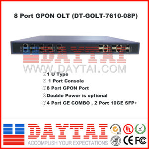 1u Type Double Power 8 Port Gpon Olt with 2 Port 10 Ge SFP+ pictures & photos