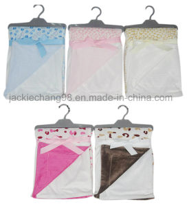 Patchwork Solid and Printed Micro Mink Baby Blanket pictures & photos