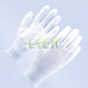 Cheap Gloves ESD Antistatic Nylon Gloves with Carbon Fiber, PU Palm Coated Gloves, ESD Antistatic Gloves pictures & photos