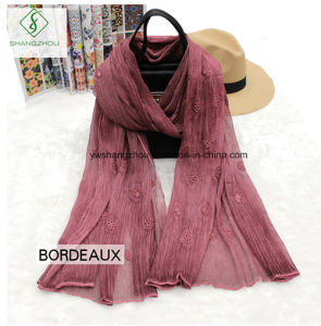 2017 High Quality Lady Fashion Crepe Silk Scarf with Dyed Embroidery pictures & photos
