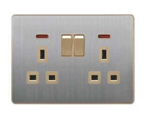 British Standard Stainless Double 13A Square-Pinned Switched Socket with Neon