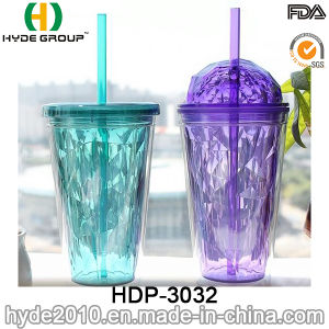 24oz Plastic Juice Drinking Bottle, BPA Free Double Wall Plastic Tumbler with Straw for Party (HDP-3032) pictures & photos