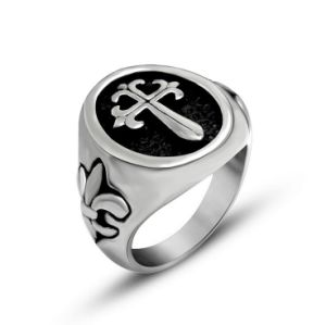 Black Center Cross Sword Stainless Steel Men Ring pictures & photos