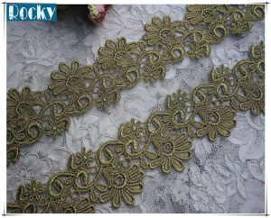 7cm Victorian Antique Metallic Gold Embroidery Lace Trim for Bridal