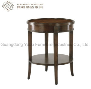 Solid Wood Round Side Table with Veneer Top pictures & photos