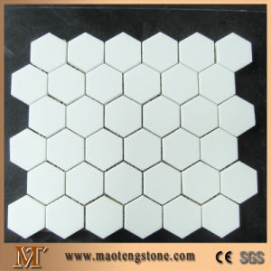 Square Hexagon Shape White Surface Crystallized Glass Mosaic Tile pictures & photos