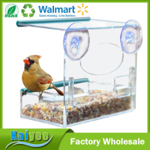 Wholesale Custom Clear Acrylic Window Automatic Bird Feeder pictures & photos
