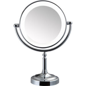 Round Double Sided 3 Times Plain Magnifying Mirror with Lights pictures & photos