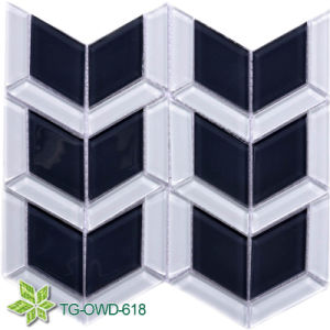 Black and Super White Quadrilateral Glass Mosaic /Mosaic Tile (TG-OWD-618) pictures & photos