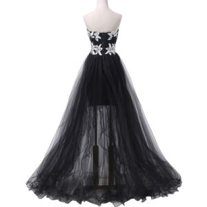 Ladies Popular Evening Dress A Line Evening Party Flowers Prom Dresses Tulle Long Evening Gown pictures & photos