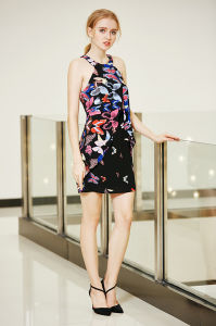 Double Layer Mini Flared Chiffon Dress in Nice Butterfly Print pictures & photos