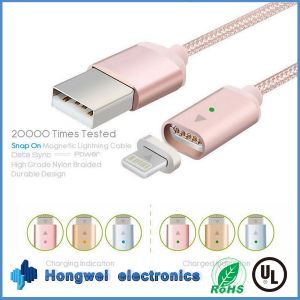 2.4A Braided Large Current Lightning Magnetic Charger Charging USB Cable pictures & photos