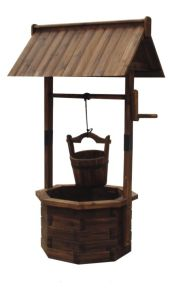 Wishing Well Planter Patio Wood Rustic Bucket Flower Holder pictures & photos