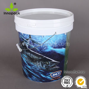 in-Mold-Labeling 15L Virgin PP Fishing Bait Plastic Bucket with Metal Handle pictures & photos