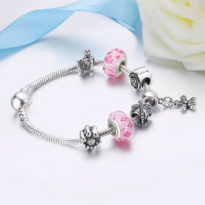 Fashion Dazzling Daisy Pendant Clear CZ Pink Glass Beads Bracelets & Bangles for Women DIY Jewelry pictures & photos