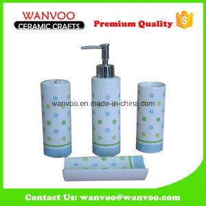 Cylindrical Shape Hand Printing Ceramic Bath Accessory Set pictures & photos