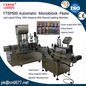 Ytsp500 Automatic Monoblock Paste and Liquid Filling with Capping with Round Labeling Machine for Smoke Oil and E-Liquid pictures & photos