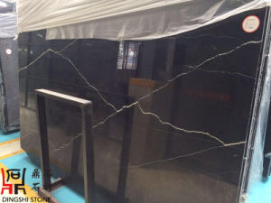 Black Natural Stone Nero Marquina Marble Slabs for Flooring Tiles/Wall Cladding