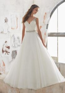 Crystal Beaded Straps Sash Pleated Keyhole A Line Bridal Wedding Dress Gown pictures & photos