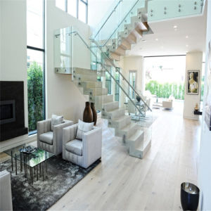 Modern Interior Steel Glass Stairs with Glass Balustrade pictures & photos