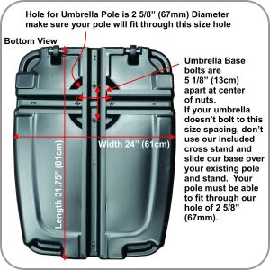 Universal Offset Umbrella Base Weight Capacity - Plastic Weighted Stand - Fill with Water or Sand, Black, 60 L pictures & photos