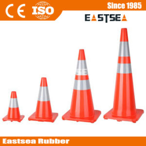 Orange Base Reflective Soild PVC Road Cone for Safety pictures & photos
