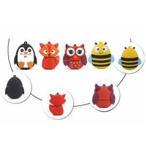Cartoon Owl Fox Penguin Bee USB PVC Cute Mini Fashion Custom USB Flash Drive 256GB pictures & photos