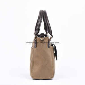Elegant Canvas Tote Bag Shoulder Bag with Genuine Leather Trim pictures & photos