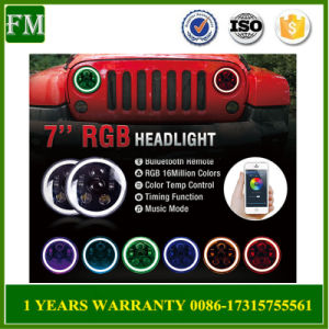 Bluetooth Halo DRL 7′′ RGB LED Headlight for Jeep pictures & photos